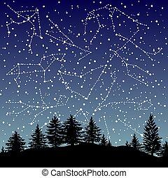 sobre, céu noite, constelações, sinais mão, desenhado, signos