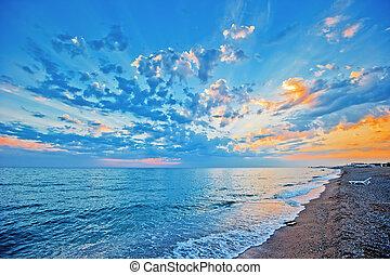 sobre, céu, pôr do sol, mar, arenoso, beac