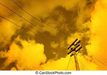 sobre, céu, polaco, pôr do sol, telégrafo, fundo
