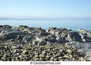 sobre, calmo, dia, pedras