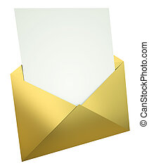 sobre, carta, oro