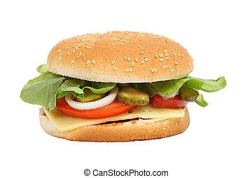 sobre,  cheeseburger, branca, fundo, isolado