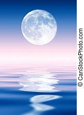 sobre, cheio, levantar, ocean., lua
