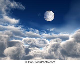 sobre, cheio, nuvens, lua