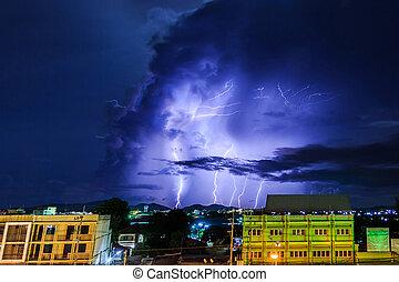 sobre, cidade,  Thunderstorm