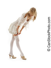 sobre, cima, loura, vestindo, branca, encantador