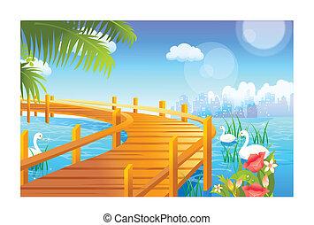 sobre, cisne, jetty, lago