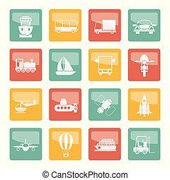 sobre, colorido, ícones, viagem, fundo, remessa, transporte