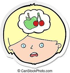 sobre, comida, pensamiento, pegatina, sano, caricatura, hombre