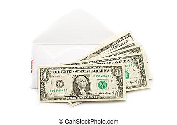 sobre, con, dólares, aislado, blanco