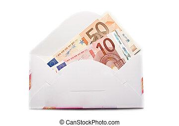 sobre, con, euro, aislado, blanco