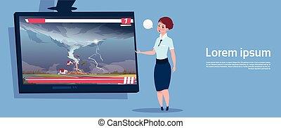 sobre, concepto, desastre natural, granja, primero, huracán, daño, destruir, transmisión, televisión, vivo, mujer, tornado, tormenta, noticias, tromba marina, campo