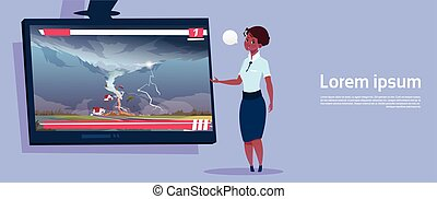 sobre, concepto, granja, desastre, campo, primero, norteamericano, africano, huracán, daño, destruir, transmisión, televisión, vivo, mujer, tornado, tormenta, natural, noticias, tromba marina