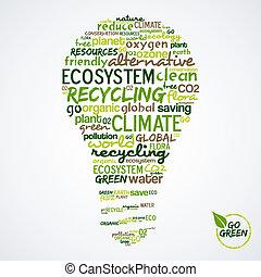 sobre, conservación ambiental, palabras, ir, bombilla, green...