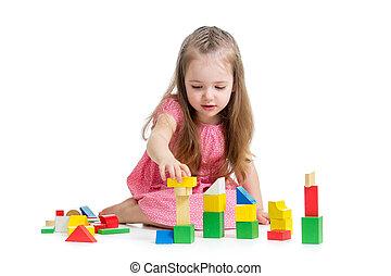 sobre, criança, tocando, fundo, brinquedos, menina, branca, bloco