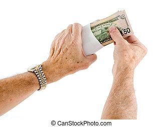 sobre, dólar, cincuenta, poniendo, manos, cuentas, etnia...