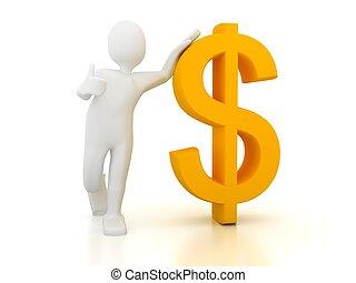 sobre, dólar, whi, sinal, pessoa, 3d