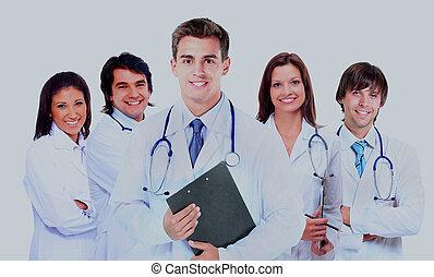 sobre, doutor, médico, isolado, experiência., sorrindo, branca, stethoscope.