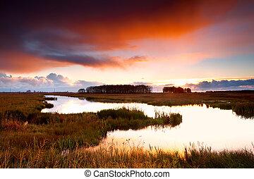 sobre, dramático, lago, amanhecer