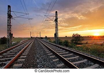 sobre, dramático, pôr do sol, ferrovia