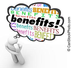 sobre, el suyo, programa de aplicación de beneficios, pensamiento, encima, beneficioso, opción, pensamiento, persona, nube, perplejo, cabeza, mejor, más
