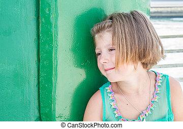 sobre, ella, pensamiento, joven, futuro, niña