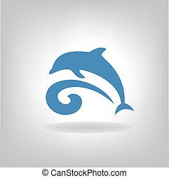 sobre, emblema golfinho, mar