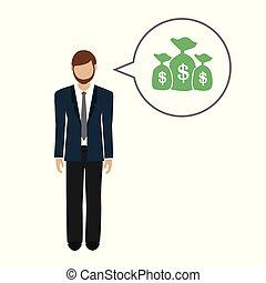 sobre, empresa / negocio, dinero, dólares, carácter, habla, hombre