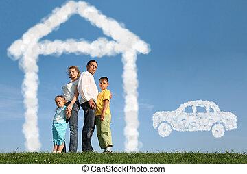 sobre, familia , collage, casa, cuatro, coche, sueños