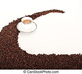 sobre, feijões, café, chícaras
