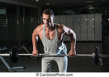 sobre, fila, dobrado, exercício, costas