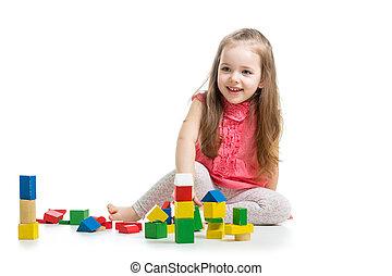 sobre, filho jogando, fundo, brinquedos, menina, branca, bloco