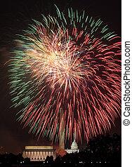 sobre, fogos artifício,  Washington,  DC,  4th, julho