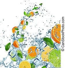 sobre, fruta, água, respingo, fresco, branca