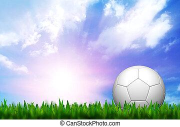 sobre, futebol, céu, grama verde, crepúsculo