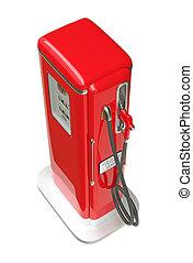 sobre, gasolina, isolado, bomba, retro, branco vermelho