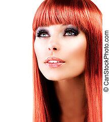 sobre, haired, fundo, modelo, retrato, branco vermelho