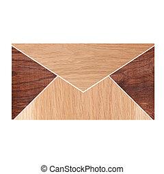 sobre, hecho, de, madera, aislado, blanco, plano de fondo