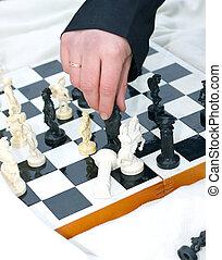 sobre, homem, junta xadrez, mão