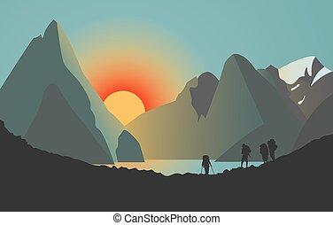 sobre, homens, lake., silhuetas, pôr do sol, montanhas.