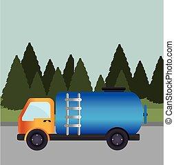 sobre, ilustração, vetorial, desenho, paisagem, fundo, transporte