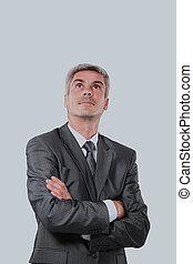 sobre, isolado, businessman., fundo, branca, sorrindo, bonito