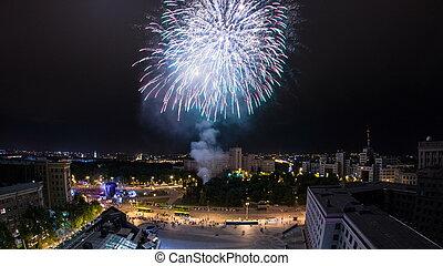sobre, kharkiv, ciudad, ukraine., noche