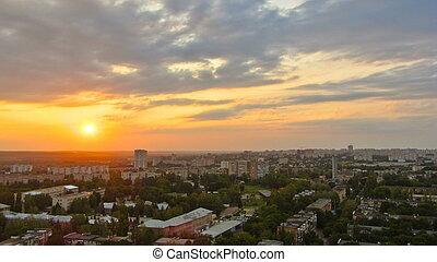 sobre, kharkiv, ciudad, ukraine., ocaso