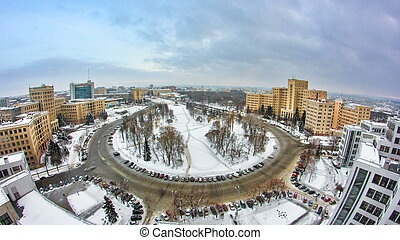 sobre, kharkiv, ciudad, ukraine., tarde