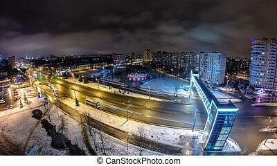 sobre, kharkiv, ciudad, winter., ukraine., noche