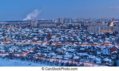 sobre, kharkiv, día, ciudad, winter., ukraine., noche