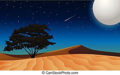 sobre, lua, deserto, isolado