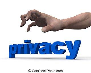 sobre, mão, privacidade
