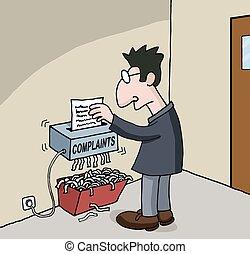 sobre, macho, trabajador, caricatura, oficina